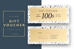 Abstract gift voucher card template. Modern discount coupon or c royalty free illustration