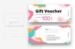 Abstract gift voucher card template. Modern discount coupon or certificate layout with geometric shape pattern. Vector fashion. Bright background design with royalty free illustration