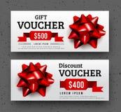 Abstract gift voucher design template. Stock Photos