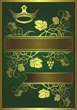 Abstract gilded floral design. An abstract floral design appearing to be gilded on a green background with blank banners Stock Photos