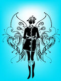 Abstract girl. Illustration with floral wings Royalty Free Stock Image
