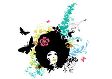 Abstract girl with crasy floral hair Royalty Free Stock Photography
