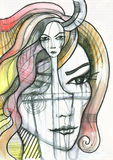 Abstract girl drawing Royalty Free Stock Photo