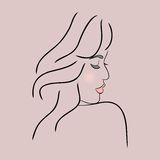 Abstract girl face profile Stock Images