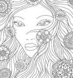 Abstract girl with flowers Stock Photo