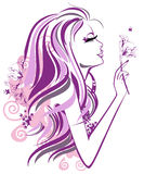 Abstract girl with flowers in profile. Abstract girl in profile with flowers and butterflies Stock Photos