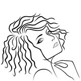 Abstract girl holding hair strand Royalty Free Stock Photo