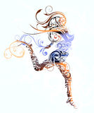 Abstract girl jumping vector illustration