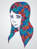 Abstract girl portrair with floral ornament. Vector illustration. This is file of EPS10 format Royalty Free Stock Image