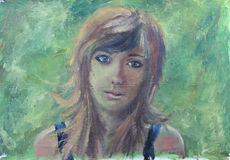 Abstract girl portrait on green oil painting on canvas. Portrait of a beautiful girl with long hair. Oil painting vector illustration
