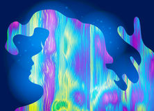 Abstract girl, psychedelic style background. Lucid dream, conscious dream, creative concept. Vector illustration. Stock Photo