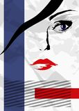 Abstract girl's face. Eyes and lips, on a white background royalty free illustration