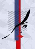 Abstract girl's face, eyes and lips. On a white background royalty free illustration