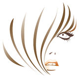 Abstract girl. Vector girl with short retro haircut Stock Images