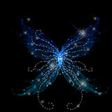 Abstract glamour butterfly. On black background Stock Photography