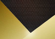 Abstract Glanzend Geborsteld Goud op Gouden Hexagonaal Metaal Mesh Background royalty-vrije illustratie