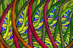 Abstract glanzend mozaïekornament in blauwe, karmozijnrode, gele en groene kleuren Stock Fotografie