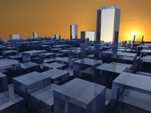 Abstract glass city. Abstract 3d illustration of background with glass buildings over sunset royalty free illustration