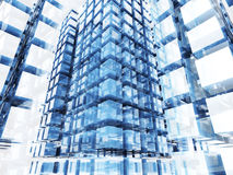 Abstract Glass Cube Blocks Technology Background. 3d Render Illustration Stock Photography