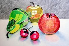 Abstract glass fruits drawing Royalty Free Stock Images