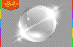 Abstract glass globe with light flares (transparency in additional format only). Moving light effect. Transparent ball background royalty free illustration