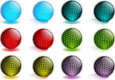 Abstract Glass Globes. Shiny Glass Globes With Coordinate Lines Stock Images