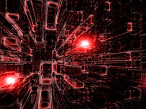 Abstract glass grid - digitally generated image. Abstract tecnology background - computer-generated 3d illustration. Fractal geometry: red rectangles, stretching Royalty Free Stock Images