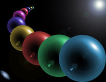 Abstract glass orbs. Abstract image of glass orbs floating in space Stock Photos