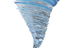 Abstract glass tornado isolated on white background, 3D rendering Stock Image