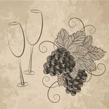 Abstract glasses of wine and grapes. This is file of EPS10 format Stock Photo
