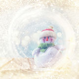 abstract glitter lights with christmas snowman Royalty Free Stock Image