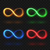 Abstract glittering infinity or eternal magic light loop vector symbols. Colorful brightness icons stock illustration