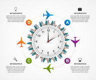 Abstract global airplane infographics design template. Stock Image