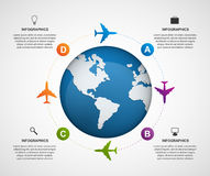 Abstract global airplane infographics design template. Vector illustration Stock Photos