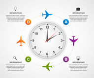 Abstract global airplane infographics design template. Royalty Free Stock Image