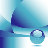 Abstract global background. An abstract background with blue and white designs and a 3D, blue globe in the lower right corner Stock Image