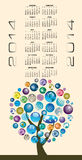 Abstract global 2014 calendar. Creative 2014 calendar with abstract global tree design stock illustration