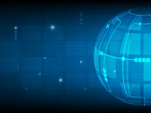 Abstract Global Circle digital technology background, futuristic structure elements concept background Stock Photos