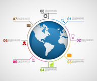 Abstract global infographic design template. Stock Photo