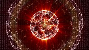 Abstract global network sphere with moving numbers, lines and dots royalty free illustration