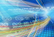 Abstract global technology background. With a globe display and floating binary code in the blue network grid.  Speed road, fiber optics. Computer generated Stock Photography