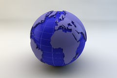 Abstract Globe. A blue and purple abstract version of planet earth with extruded continents all set against a white background Stock Images