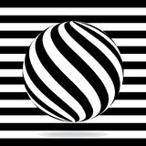 Abstract globe from black and white stripes. Vector illustration. Eps 10 Royalty Free Stock Images