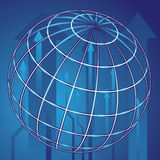 Abstract globe blue background. Abstract shiny globe and blue arrows background Stock Photo
