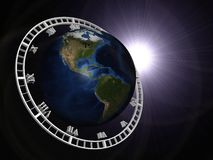 Abstract Globe with clock Royalty Free Stock Images