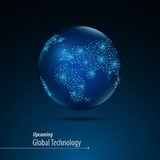 Abstract globe digital texture design dot and linear pattern global innovation concept Royalty Free Stock Photo