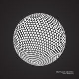Abstract globe dotted sphere, 3d dot effect. White color, black Stock Photo