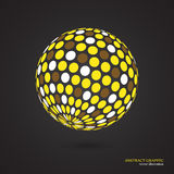Abstract globe dotted sphere, 3d dot effect. White, yellow, brow Stock Image