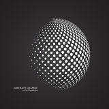 Abstract globe dotted sphere, 3d halftone dot effect. White colo royalty free illustration