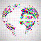 Abstract globe earth from colorful pixels Royalty Free Stock Photography
